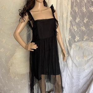 Black sheer dotted mesh ruffle midi dress
